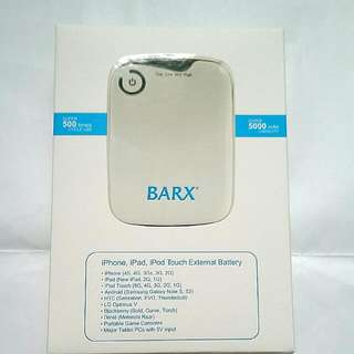 BARX 5000mAh Power Pack With Pouch & Cable Connectors For Apple & Android Mobile Devices