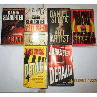 James Siegel, Daniel Silva, Karin Slaughter, Paperbacks, Pre-loved Book,Softbound