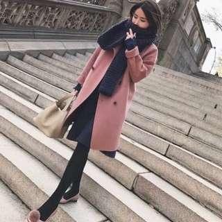 全新嫩粉色毛呢大衣/長版外套/內裏鋪棉