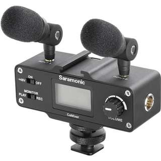 Saramonic CaMixer Basic Audio Adapter with two plug in condenser microphones & preamplifier for DSLR camera video production (preorder)