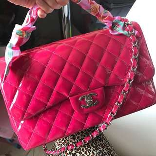 Chanel pink jumbo size double flap chain bag backpack Woc clutch wallet 鏈袋 背包 背囊