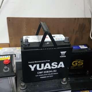 (二手中古電池) Yuasa 55B24LS-免保養汽車電池 數值漂亮,品項優