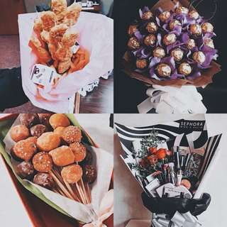 FOOD & MAKEUP BOUQUETS FOR VALENTINES
