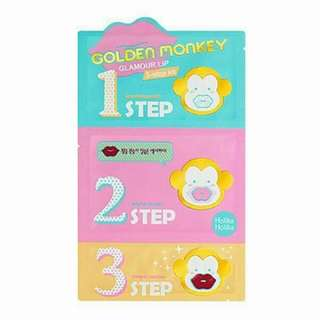 Holika Holika ( GOLD MONKEY GLAMOUR LIP 3-STEP KIT) -Single Sheet  -All Skin Type