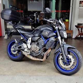 Yamaha MT07 with Akrapovic full system