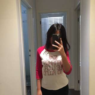 Pink/white long sleeve cotton top
