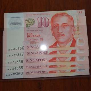 4AA $10 UNC 5 runs