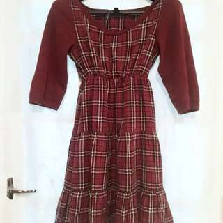 MNG Maroon Plaid Mini Dress