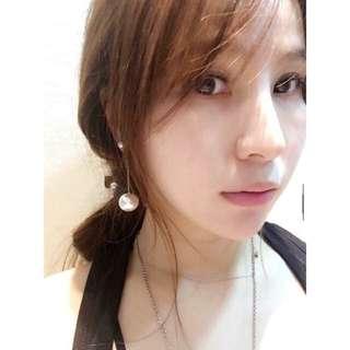 韓國製🇰🇷 浪漫雙珍珠垂墜耳環