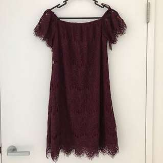Valleygirl Burgundy Off-shoulder Dress (Size 8)