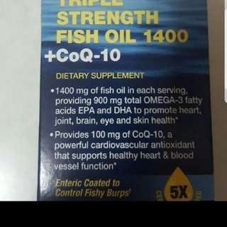 Wts GNC Triple Strength fish oil 1400 + CoQ- 10..3 bottles in stock. Cny special