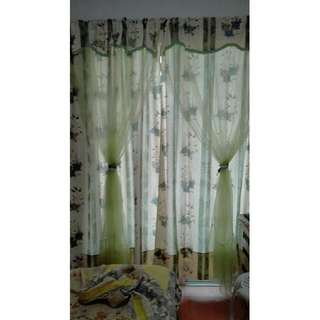 Floral Print Shirred Curtain With Green Chiffon Overlay