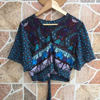 Patterned crop top - open back