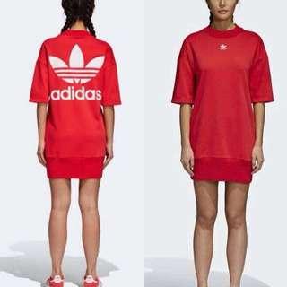 💗《預》💞2018 新款上市💞楊冪代言 adidas originals系列 紅色休閒針織連身裙