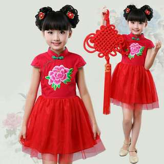 *FREE DELIVERY to WM only / Ready stock* Kids CNY dress each as shown design/color red, pink. Free delivery is applied for this item.