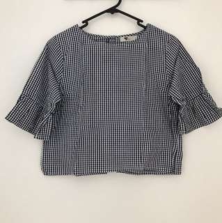 TEMT Navy Gingham Cropped Top (Size 8)