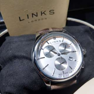 Links of London 腕錶 Regent Mens Stainless Steel & Black Chronograph Watch