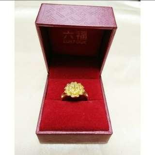 金器 仿金花戒指 金花介指 連六福盒 結婚 敬茶 裙褂 豬牌  fake golden ring