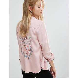 New Look Embroidered Shirt in Pink