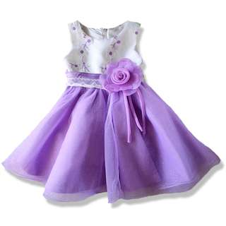 Elegant Purple Embroidery Flower Girl Dinner Dress
