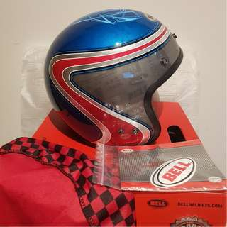 Bell Custom 500 Adult Open face Street Blue Red Grey Helmet Airtrix Heri , SIZE Small S ONLY D.O.T. Certified Motorcycle Motorbike Cafe Racer Helmet