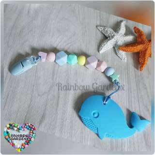 Handmade pastel beads Pacifier Clip + Whale teether combo