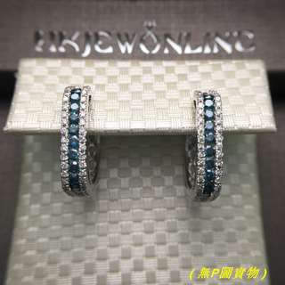 14K白金藍鑽耳環