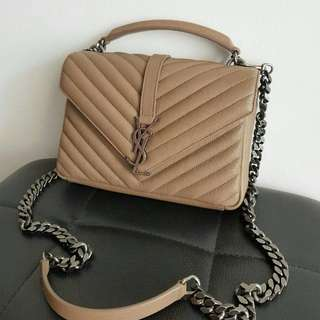 READY YSL Medium College in beige / nude Chevron RHW