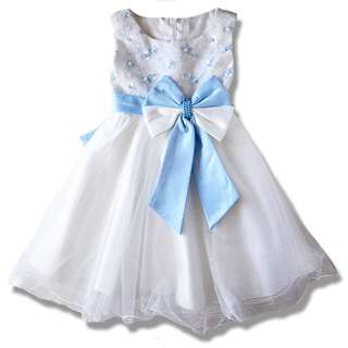 Elegant Blue Embroidery Flower Girl Dinner Dress