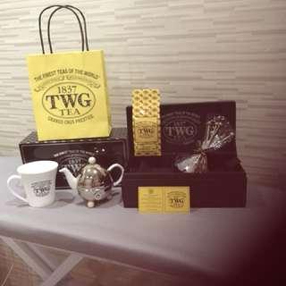 TWG Design Teapot in white+ tea leaves + tea mug +sugar tea sticks