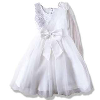 Elegant and Sweet Sleeveless Flower Girl dress -white 4-8y