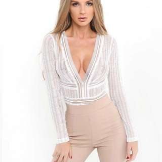 Tiger mist white lace bodysuit AU12