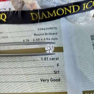 💎熱辣辣GIA 鑽石💓新貨到 GIA證書 1.01 F SI1 VG EX EX NON🔥💥平💥靚💥正💥幫你慳荷包😎