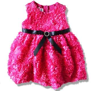Elegant and Pretty Sleeveless Hot Pink Party Dress with Black Ribbon