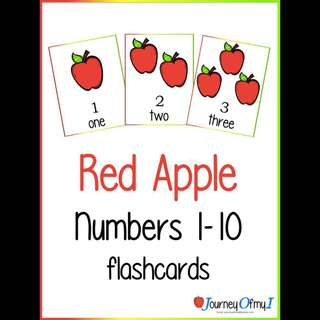Red Apple Numbers 1-10 flashcards