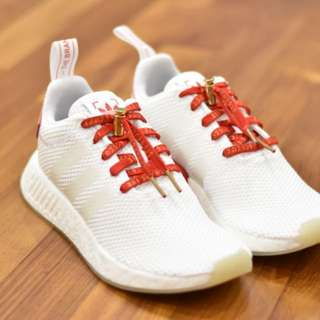 Katakana shoelaces red gold ultra boost nmd r2