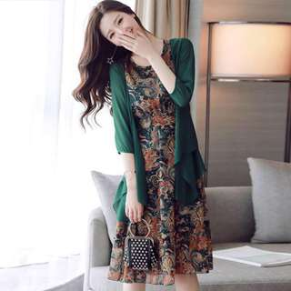 Chiffon Dress with Cardigan