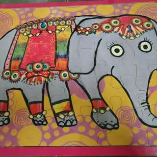 Emily Green Wooden Bollywood Elephant Puzzle 25 Piece Homeschool Montessori