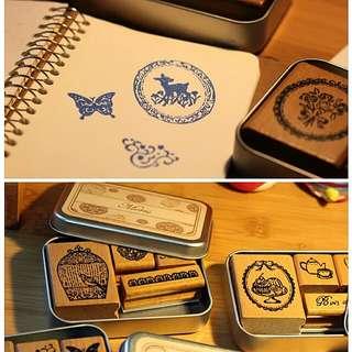 鐵盒復古木質印章 預售