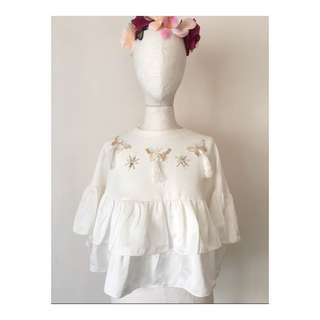 NEW butterfly frill top (white)
