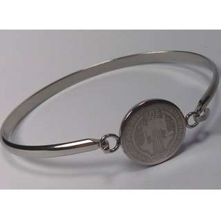 Silver Bangle - St Benedict