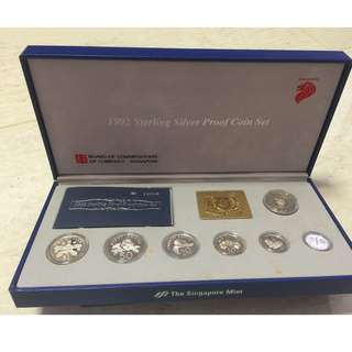 1992 Singapore Sterling Silver Proof Coins