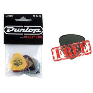 (12 pc) Jim Dunlop Light/Medium Gauge Guitar Picks Plectrum Sampler PVP101 Assorted Variety Pack w/FREE Dunlop Scotty Pickholder