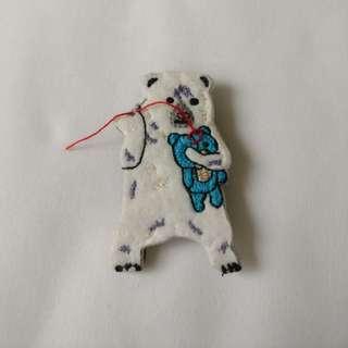 北極熊 整公仔 胸針 扣針