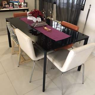 MONDI tempered glass Dining Table And genuine leather Chairs