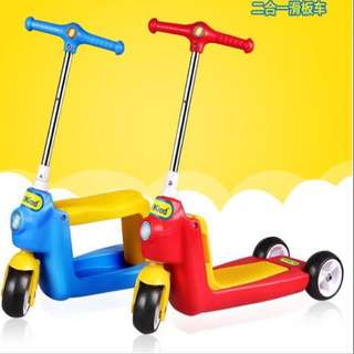 Toddler Children Kids Scooter, Kick Scooter, Push Car, Walker, Tricycle (2-in-1, Premium Export Quality & Finishing)