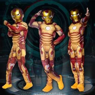 Ironman Muscles Boys Dress Up Kids Costume-GOLD