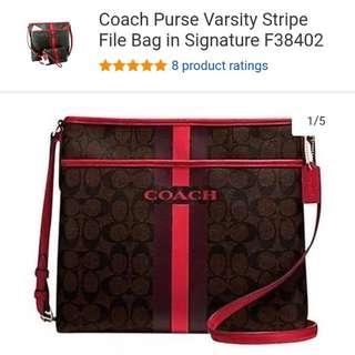 Coach Purse Varsity Stripe File Bag