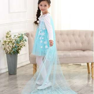Pretty Lacy Princess Elsa Costume/Dress Long Sleeve Blue