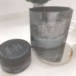 Boscia charcoal sponge and Sukin mask